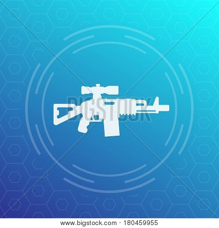 assault rifle icon, gun with optical sight, vector illustration