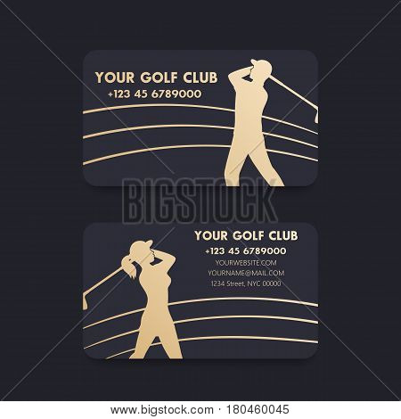 Business card design for golf club with players, golfers, gold on dark