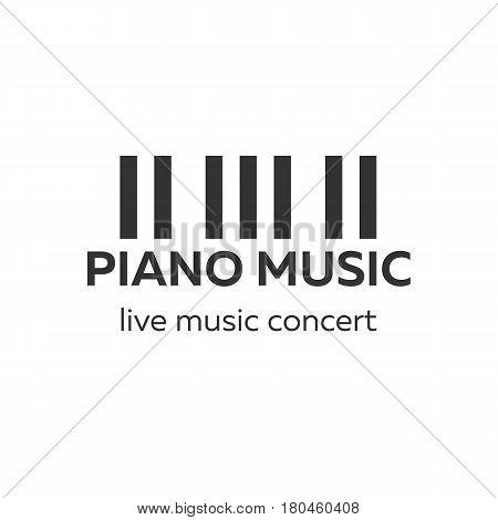 Piano Concert Logo Design. Live Music Concert. Piano Keys. Vector Illustration.