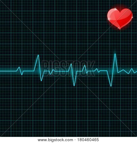 Blue electrocardiogram with red heart symbol. Vector illustration