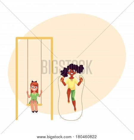 Two girls, Caucasian and black African, playing with jumping rope and sitting on a swing at playground, cartoon vector illustration with space for text. Girl friends having fun at playground