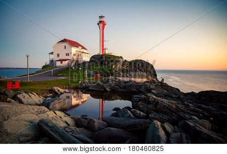 Lighthouse and building  in Yarmouth nova scotia Canada