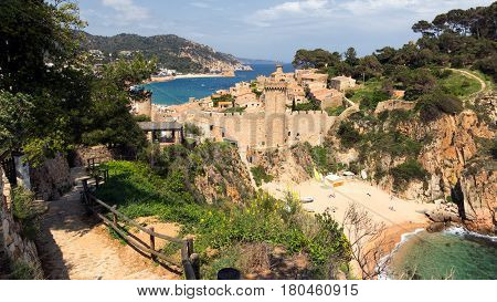 View on the historic town of Tossa de Mar. Costa Brava beach Spain