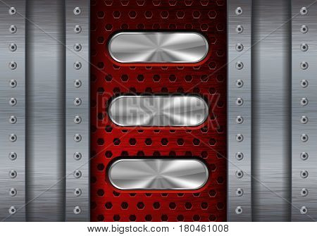 Metal background with red perforation and oval steel buttons. Vector illustration
