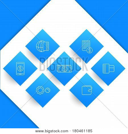 Payment methods, types, line icons on rhombic shapes
