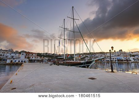 Harbour of Lipsi island in Dodecanese, Greece.