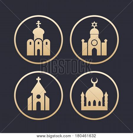 religion buildings icons set, mosque, catholic and orthodox church, synagogue, gold on dark