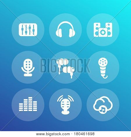 audio icons set, equalizer, sound mixing console, earbuds, headphones, microphones, speakers