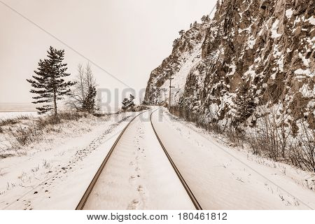 View of Circum-Baikal Railway at winter day time. Russia.