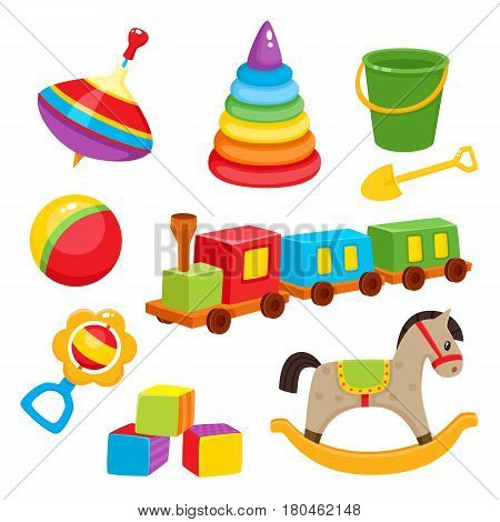 Set of baby, kid toys - pyramid, spinning top, bucket, shovel, ball, train, rocking horse, rattle, blocks, cartoon vector illustration isolated on white background. Colorful kid items, baby toys set