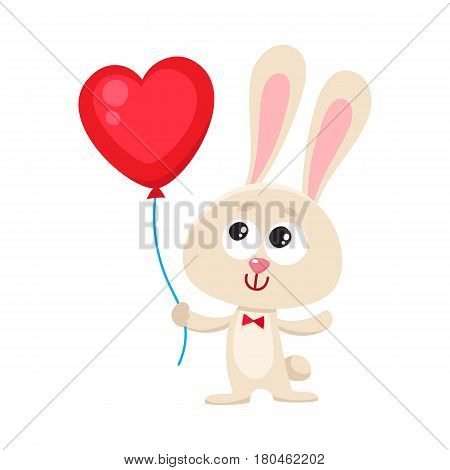 Cute and funny rabbit, bunny holding red heart shaped balloon, cartoon vector illustration isolated on white background. Rabbit, bunny holding heart balloon, easter, birthday greeting decoration