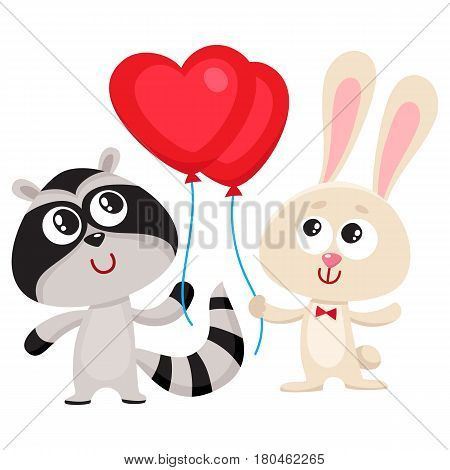 Cute, funny rabbit and raccoon holding red heart shaped balloon, cartoon vector illustration isolated on white background. Bunny and raccoon holding heart balloon, birthday greeting decoration elements