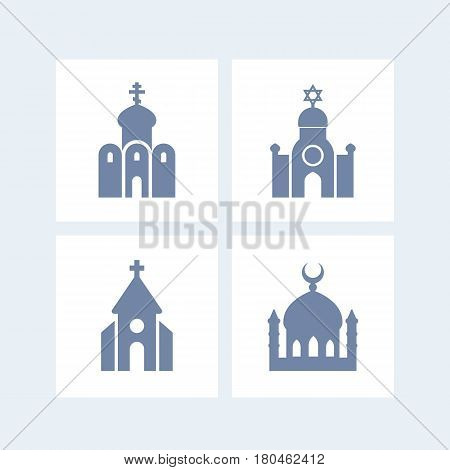 religion buildings icons isolated over white, eps 10 file, easy to edit