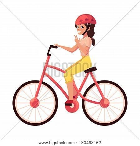 Young pretty woman, girl riding a bicycle, cycling, cartoon vector illustration isolated on white background. Full length, side view portrait of young pretty woman riding a bicycle, cycling
