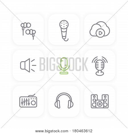 audio line icons set, sound mixer, microphones, earbuds, headphones, speakers, music in cloud, vector illustration