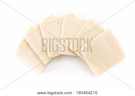 White No Crust Sandwich Bread Slices, On White Background.