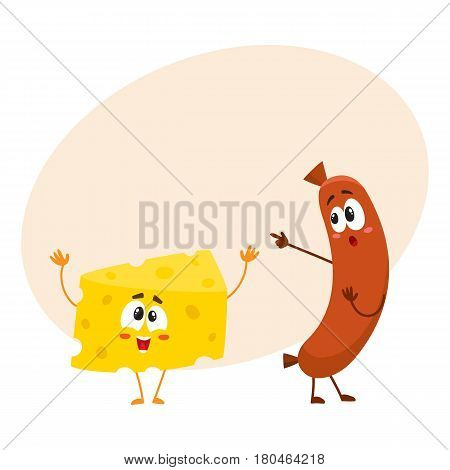 Embarrassed frankfurter sausage character pointing to funny cheese chunk, cartoon vector illustration with space for text. Funny cheese and sausage characters, mascots with human faces