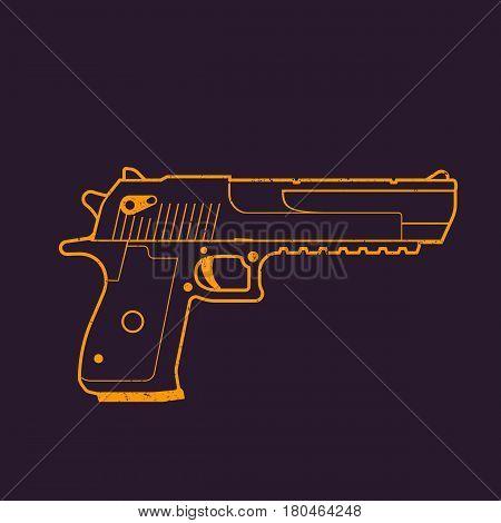 pistol outline, handgun, gun vector illustration, eps 10 file, easy to edit