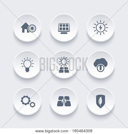 Solar energy icons set, alternative energetics, sun powered house,eps 10 file, easy to edit