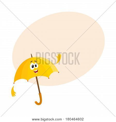 Cute and funny yellow umbrella character with smiling human face waving hello, cartoon vector illustration with space for text. Greeting umbrella, parasol character, mascot, design element