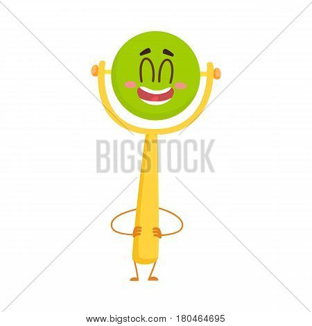 Cute and funny baby rattle toy character, green ball on yellow handle, standing arms akimbo, cartoon vector illustration isolated on white background. Baby rattle toy character, infant, kid item