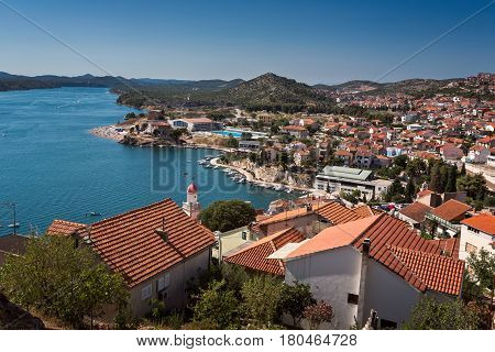 Aerial View of Sibenik on Summer Day Croatia