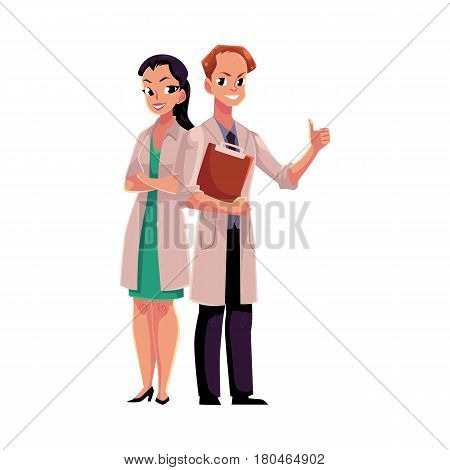 Male and female doctors in white medical coats, woman with folded arms, man holding folder, cartoon vector illustration isolated on white background. Full length portrait of two doctors