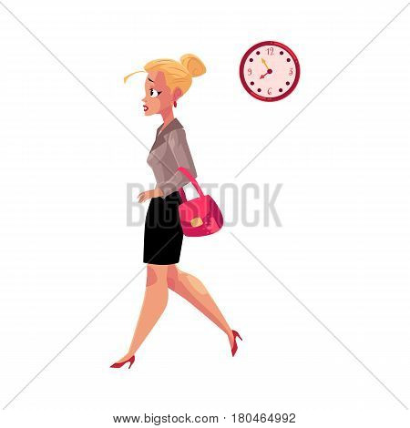Young blond businesswoman hurrying, being late to work, feeling nervous, cartoon vector illustration isolated on white background. Businesswoman, business woman hurrying to work in the morning time