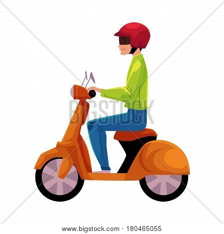 Scooter, moped, motor bicycle rider wearing helmet, side vew, personal transport concept, cartoon vector illustration isolated on white background. Man riding scooter, wearing helmet, delivery service