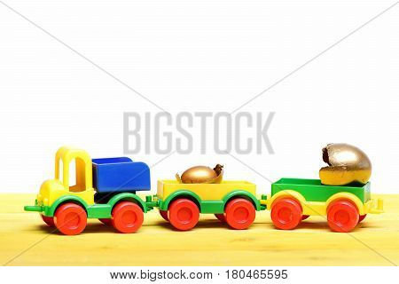 Golden Easter Eggs In Broken Shell On Lorry Car Toy