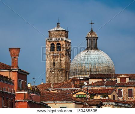 Dome and Bell Tower of Chiesa di San Geremia in Venice Italy