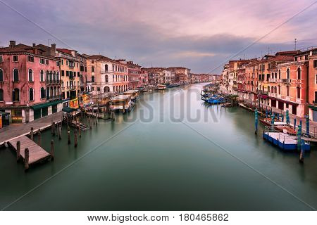 View of Grand Canal and Venice Skyline from the Rialto Bridge in the Morning Venice Italy
