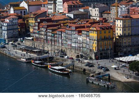 PORTO, PORTUGAL - MAR 10, 2017: View old downtown of Porto. City of Porto was elected from 20 selected Best European Destination 2017 and won this prestigious title.