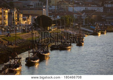PORTO, PORTUGAL - MAR 10, 2017: View of Douro river shore Vila Nova de Gaia. City of Porto was elected from 20 selected Best European Destination 2017 and won this prestigious title.