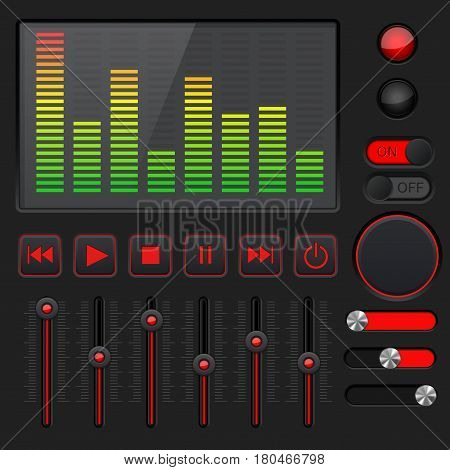 Sound equalizer with slider and media player buttons. Black and red collection. Vector illustration