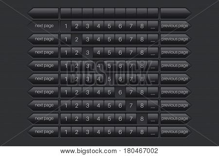 Page bar, previous and next. Black user interface elements. Vector illustration