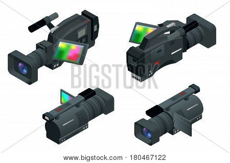 Professional digital video camera. Flat 3d isometric illustration for infographics and design. Camcorders and Equipment