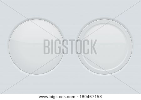 Round button normal and pushed. On gray interface background. Vector illustration