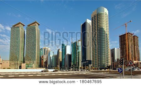 DOHA, QATAR - FEBRUARY 17, 2016: The high-rise Dafna business district of Doha, seen from the recently completed Hotel Park.