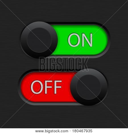 On and off toggle switch. Vector illustration on dark background