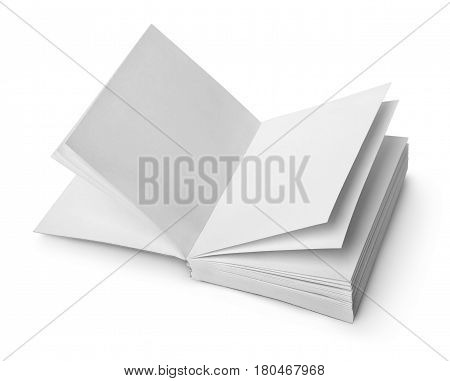 Open book with clean sheets isolated on white background