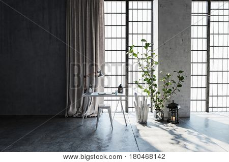 Table and stool in light modern apartment next to houseplant with floor to ceiling windows and daylight. 3d rendering.