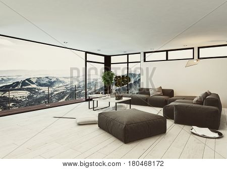 View of spacious room in hotel or penthouse with minimalist interior design and huge panoramic windows with winter mountains outside. 3d rendering.