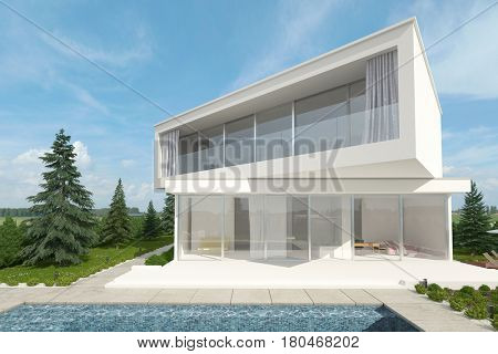 Exterior view of a white upmarket designer home with swimming pool and offset floors at angles to each other surrounded by young conifers. 3d rendering.