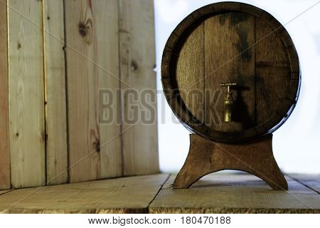 Background of the barrel and a beautiful table