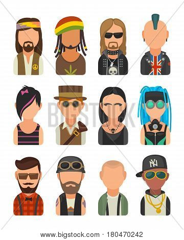 Set icon different subcultures people. Hipster raper emo rastafarian punk biker goth hippy metalhead steampunk cybergoth. Vector flat illustration on white background