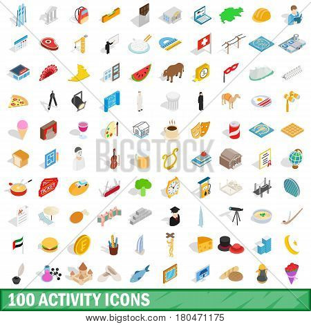 100 activity icons set in isometric 3d style for any design vector illustration