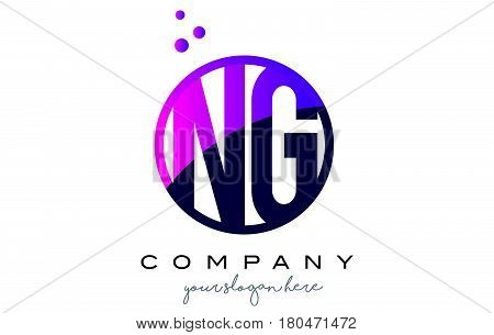 Ng N G Circle Letter Logo Design With Purple Dots Bubbles