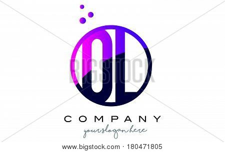 Ol O L Circle Letter Logo Design With Purple Dots Bubbles