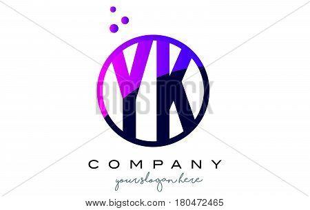 Yk Y K Circle Letter Logo Design With Purple Dots Bubbles